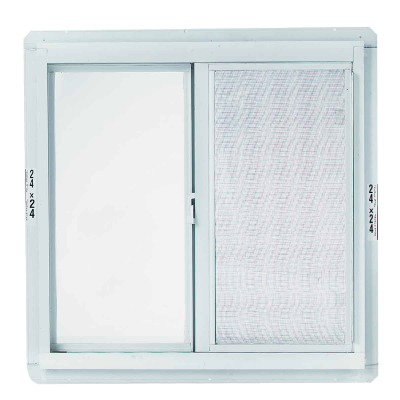 Croft Series 70 23 In. W. x 23 In. H. White Aluminum Sliding Window with Screen
