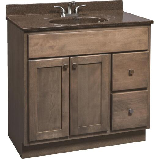 Bertch Bear Creek Driftwood 36 In. W x 34-1/2 In. H x 21 In. D Vanity Base, 2 Door/2 Drawer