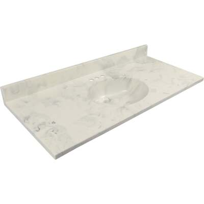 Modular Vanity Tops 49 In. W x 22 In. D Marbled Dove Gray Cultured Marble Vanity Top with Oval Bowl
