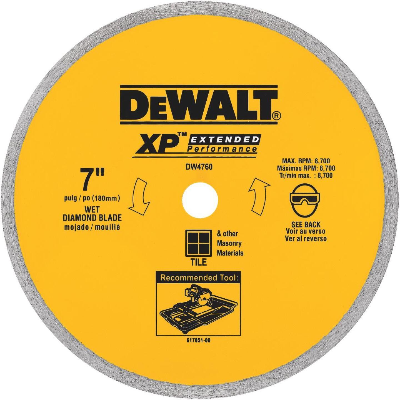 DeWalt Extended Performance 7 In. Continuous Rim Dry/Wet Cut Tile Diamond Blade Image 1