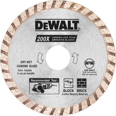 DeWalt High Performance 4 In. Turbo Rim Dry/Wet Cut Diamond Blade, Bulk