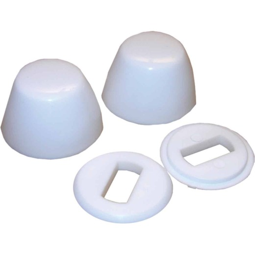 Lasco Round White Plastic Snap-On Toilet Bolt Caps (2 Ct.)