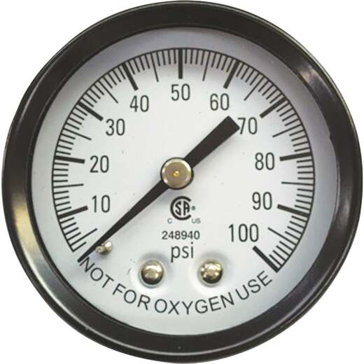 Simmons 1/8 In. MPT Fitting 100 psi Pressure Gauge