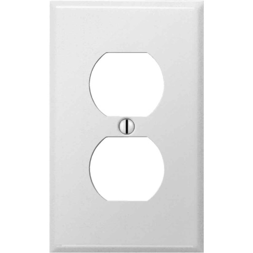 Amerelle PRO 1-Gang Stamped Steel Outlet Wall Plate, Smooth White