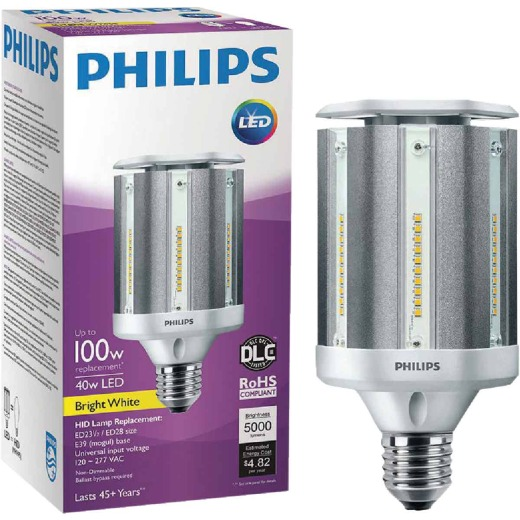 Philips 40W ED28 Replacement Mogul Screw LED High-Intensity Light Bulb