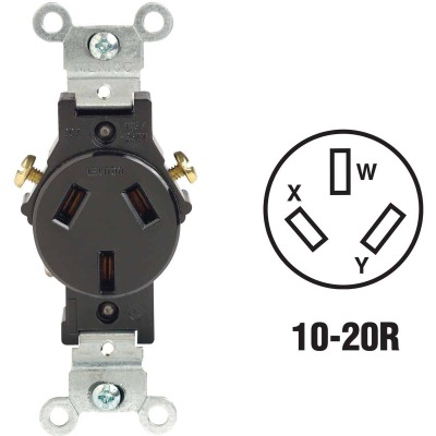 Leviton 20A Black Commercial Grade 10-20R Non-Grounding Single Outlet