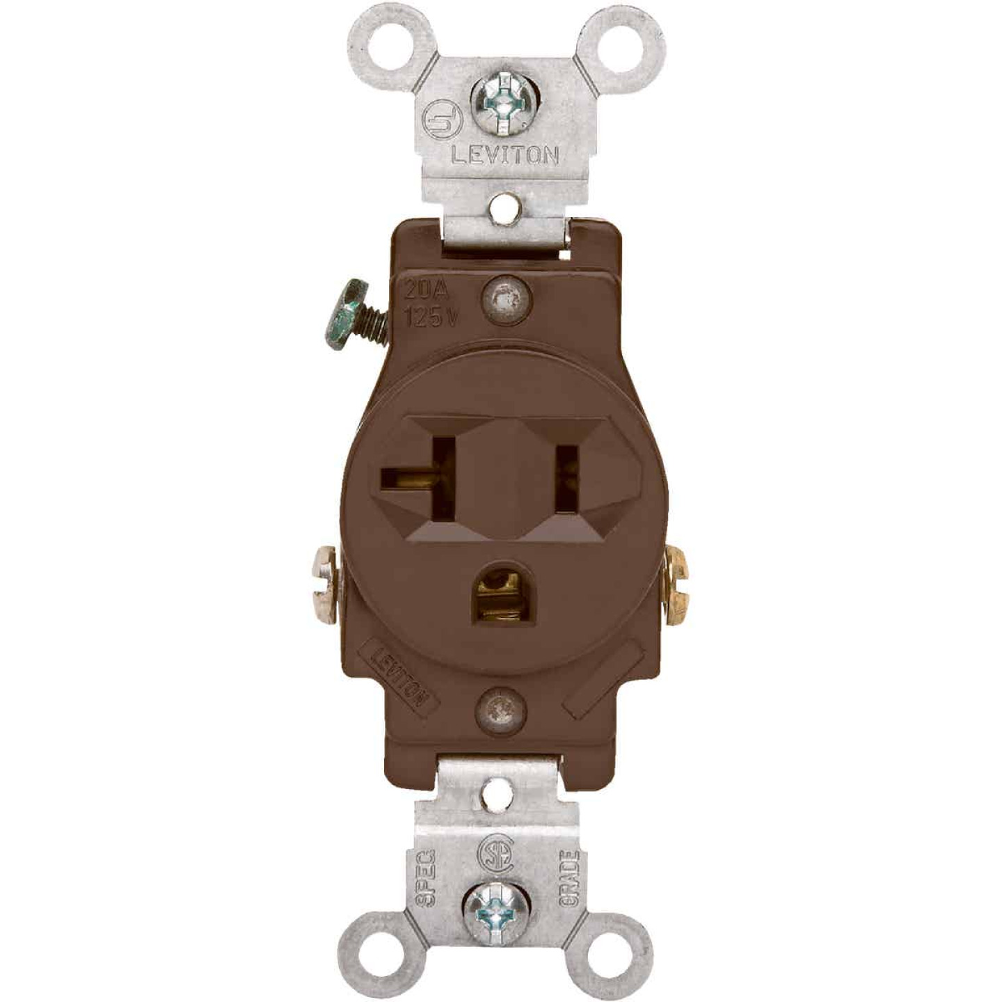 Leviton 15A Brown Commercial Grade 5-20R Shallow Single Outlet Image 2