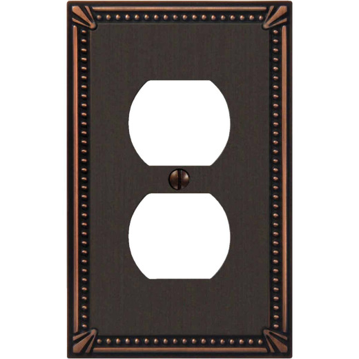 Amerelle Imperial Bead 1-Gang Cast Metal Outlet Wall Plate, Aged Bronze
