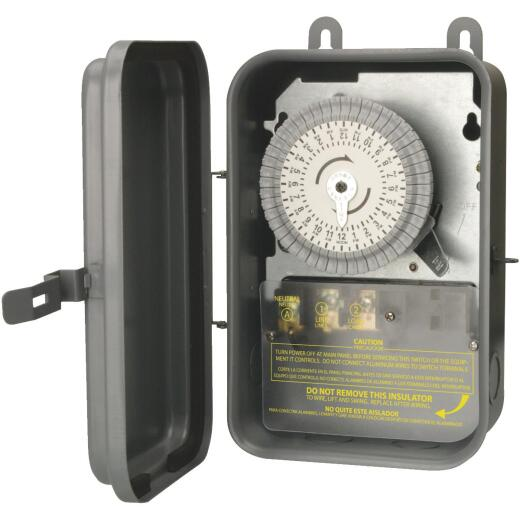 Woods Wire 40A 120VAC Gray SPST Outdoor Timer