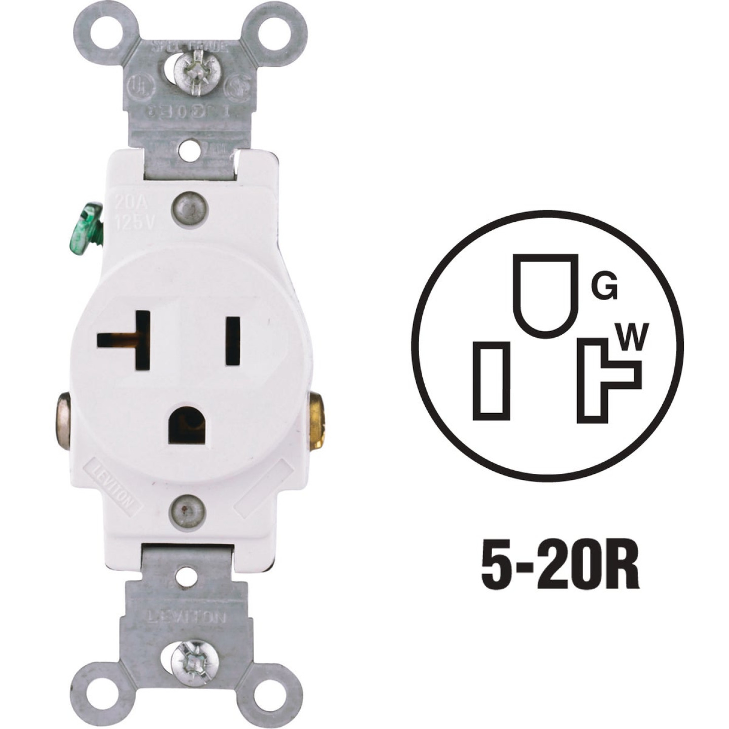 Leviton 20A White Commercial Grade 5-20R Shallow Single Outlet Image 1