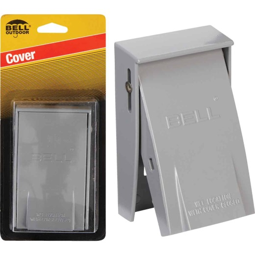 Bell Rayntite Single Gang Vertical Mount GFCI Aluminum Gray Weatherproof Outdoor Outlet Cover