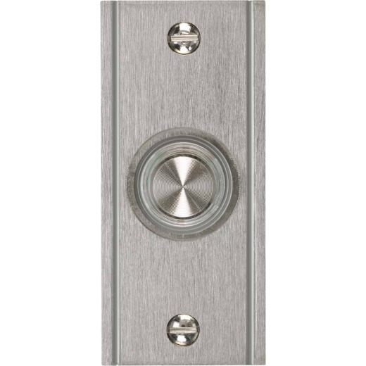 IQ America Wired Brushed Nickel Lighted Doorbell Push-Button