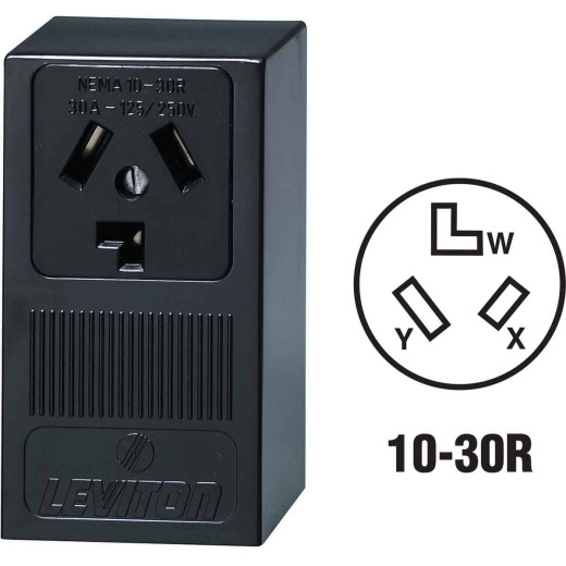 Leviton 30A Surface Mount Black 10-30R 3-Wire Dryer Power Outlet