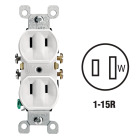 Leviton 15A White Residential Grade 1-15R Duplex Outlet Image 1