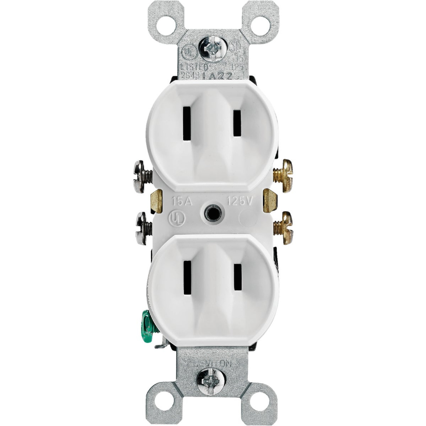Leviton 15A White Residential Grade 1-15R Duplex Outlet Image 2