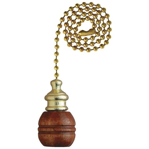Westinghouse 12 In. Polished Brass Pull Chain with Sculptured Walnut Ball Ornament
