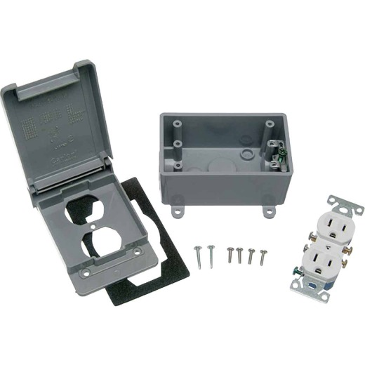 Red Dot Single Gang Vertical Gray 5-15R Weatherproof Electrical Box Outdoor Outlet Kit