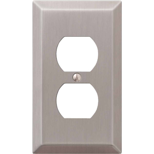 Amerelle 1-Gang Stamped Steel Outlet Wall Plate, Brushed Nickel