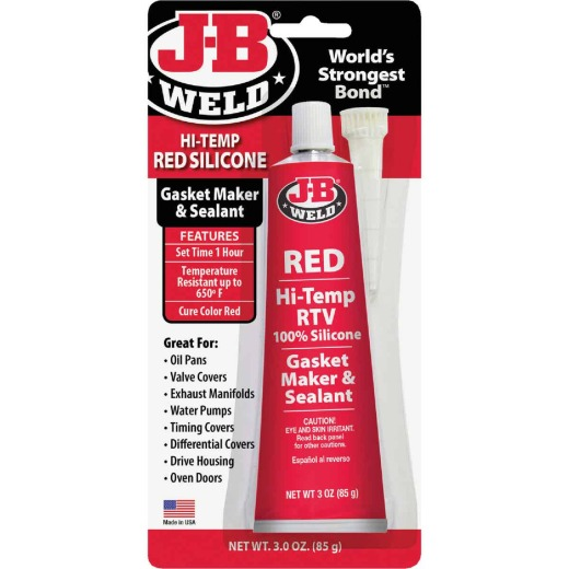 J-B Weld 3 Oz. Red Hi-Temp RTV Silicone Gasket & Sealant