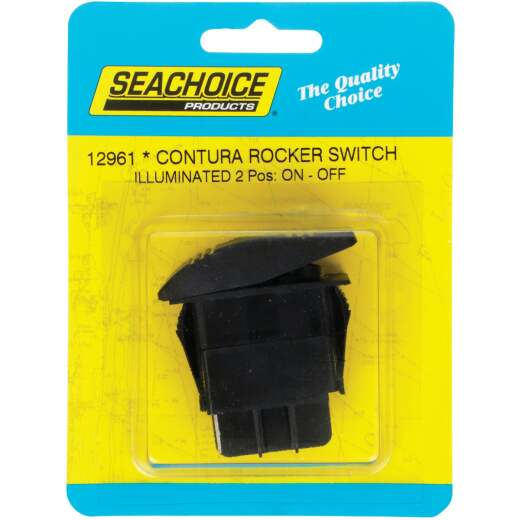 Seachoice Contura 20A 12V Black Illuminated Rocker Switch, On/Off