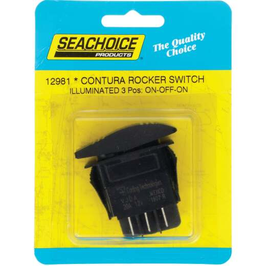 Seachoice Contura 20A 12V Black Illuminated Rocker Switch, On/Off/On