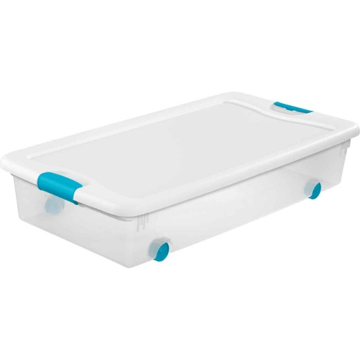 Sterilite Latch Clears 56 Qt. Wheel Underbed Box