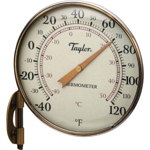 "Taylor 4.25"" Dia Anodized Aluminum Dial Indoor & Outdoor Thermometer"