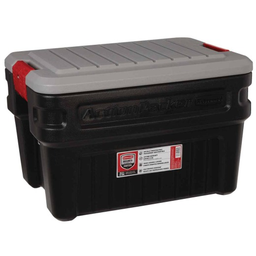 Rubbermaid ActionPacker24 Gal. Black Storage Tote