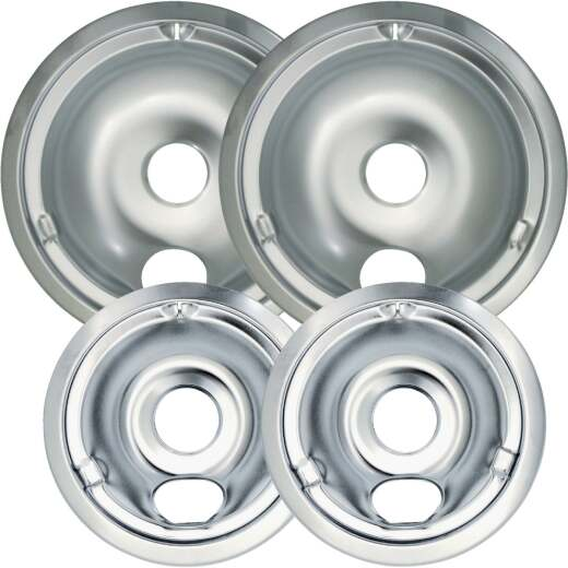 "Range Kleen Electric (2) 6"" & (2) 8"" Style C Round Chrome Drip Pan"