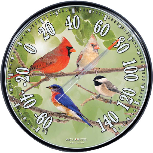 "Acurite 12-1/2"" Dia Plastic Dial Songbird Indoor & Outdoor Thermometer"