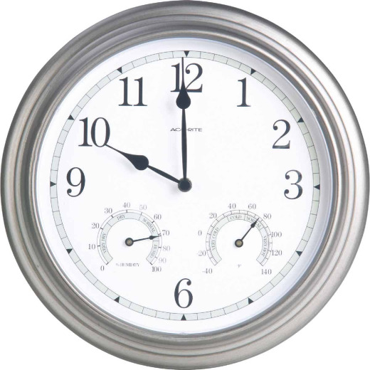 "Acurite 13.5"" Metal Indoor/Outdoor Clock Thermometer"