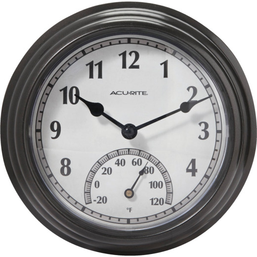 "Acurite 8.5"" Metal Indoor/Outdoor Clock Thermometer"