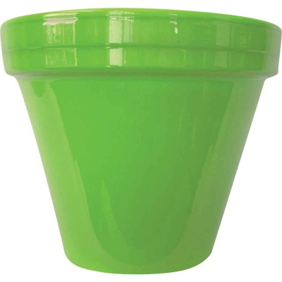Ceramo Spring Fever 8-1/2 In. H. x 7-1/2 In. Dia. Bright Green Clay Flower Pot