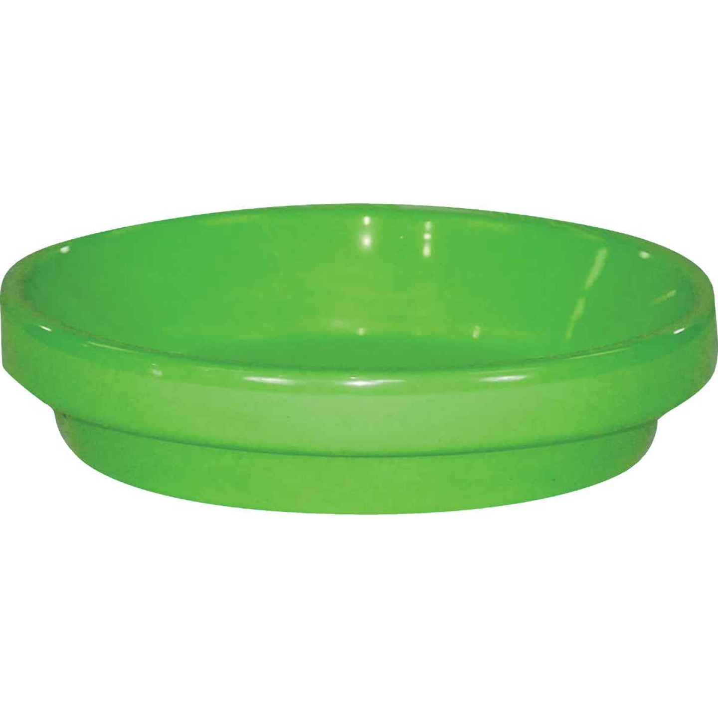 Ceramo Spring Fever 8 In. Bright Green Clay Flower Pot Saucer Image 1