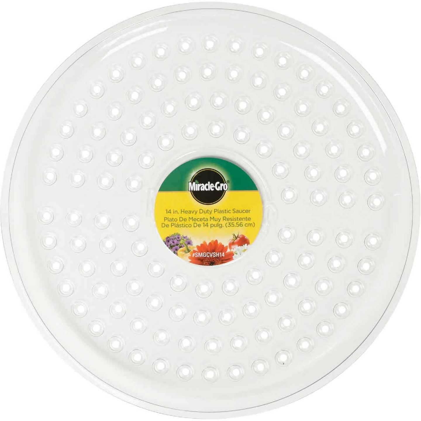 Miracle-Gro 14 In. Clear Plastic Flower Pot Saucer Image 2