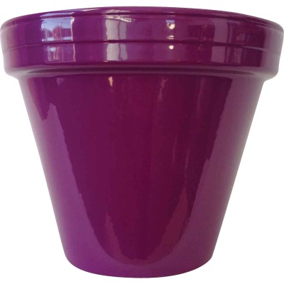 Ceramo Spring Fever 6-1/2 In. H. x 5-1/2 In. Dia. Violet Clay Flower Pot