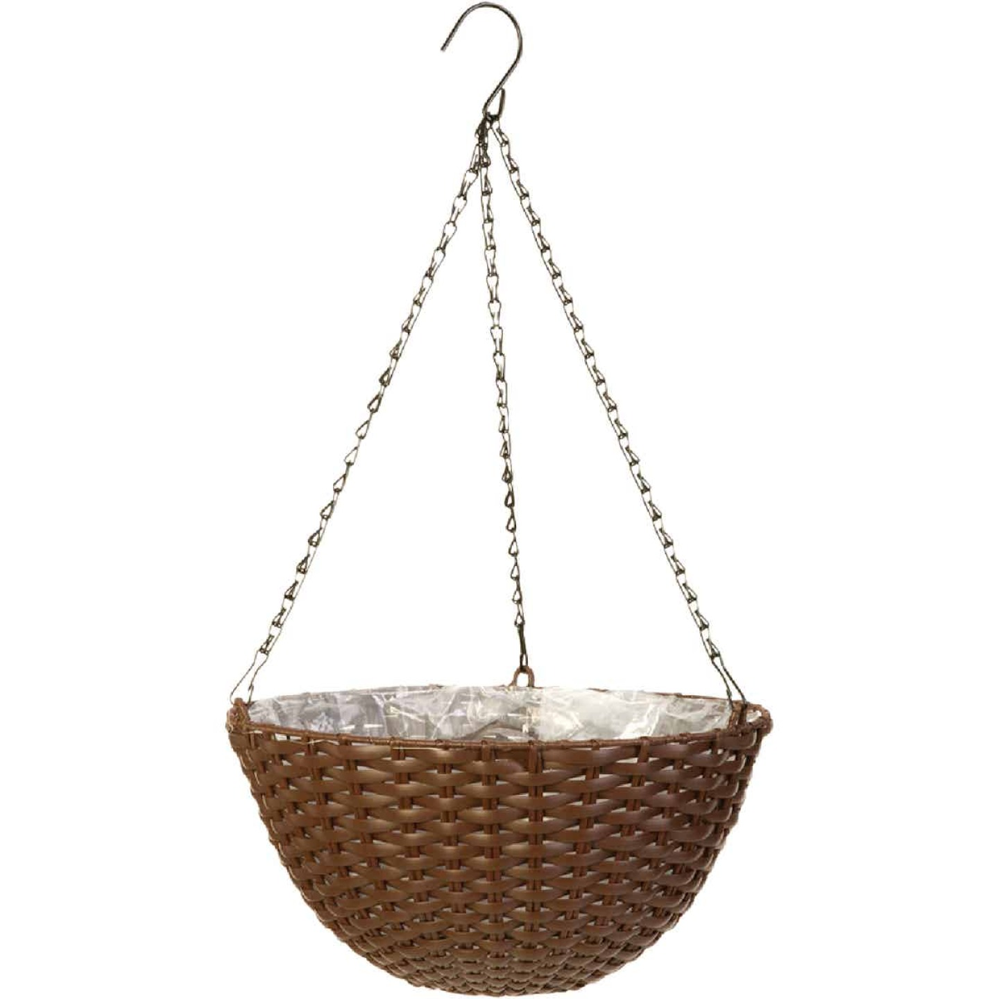 Panacea 14 In. Resin Espresso Brown Hanging Plant Basket Image 1
