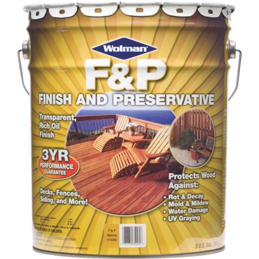 Wolman F&P Transparent Wood Finish And Preservative, Natural, 5 Gal.