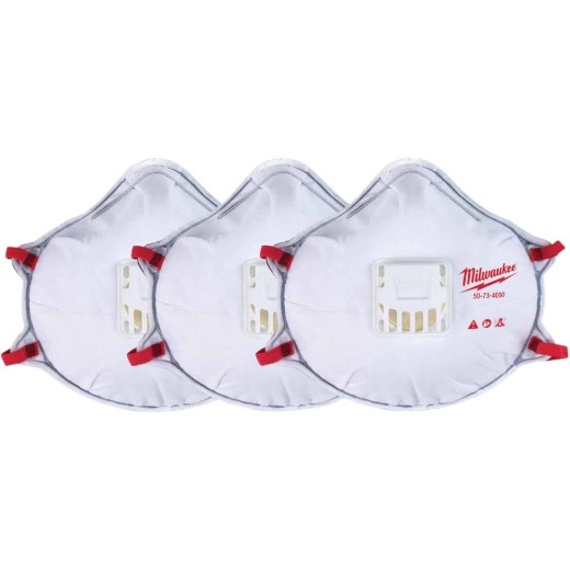 Milwaukee Disposable N95 Valved Respirator with Gasket (3-Pack)