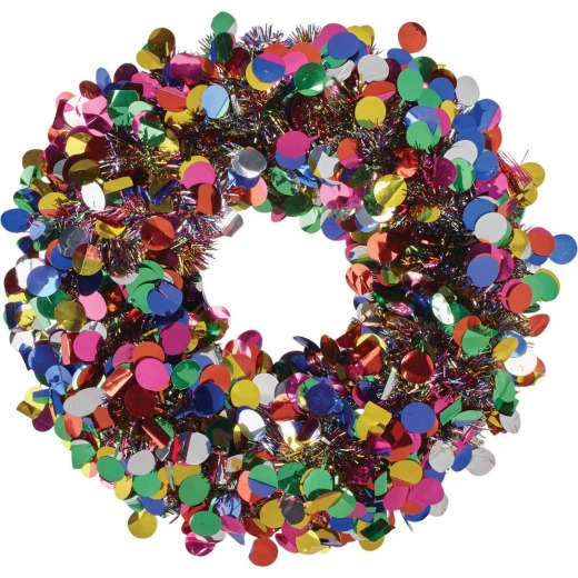 Youngcraft 17 In. Silver w/Rainbow Dots Tinsel Wreath